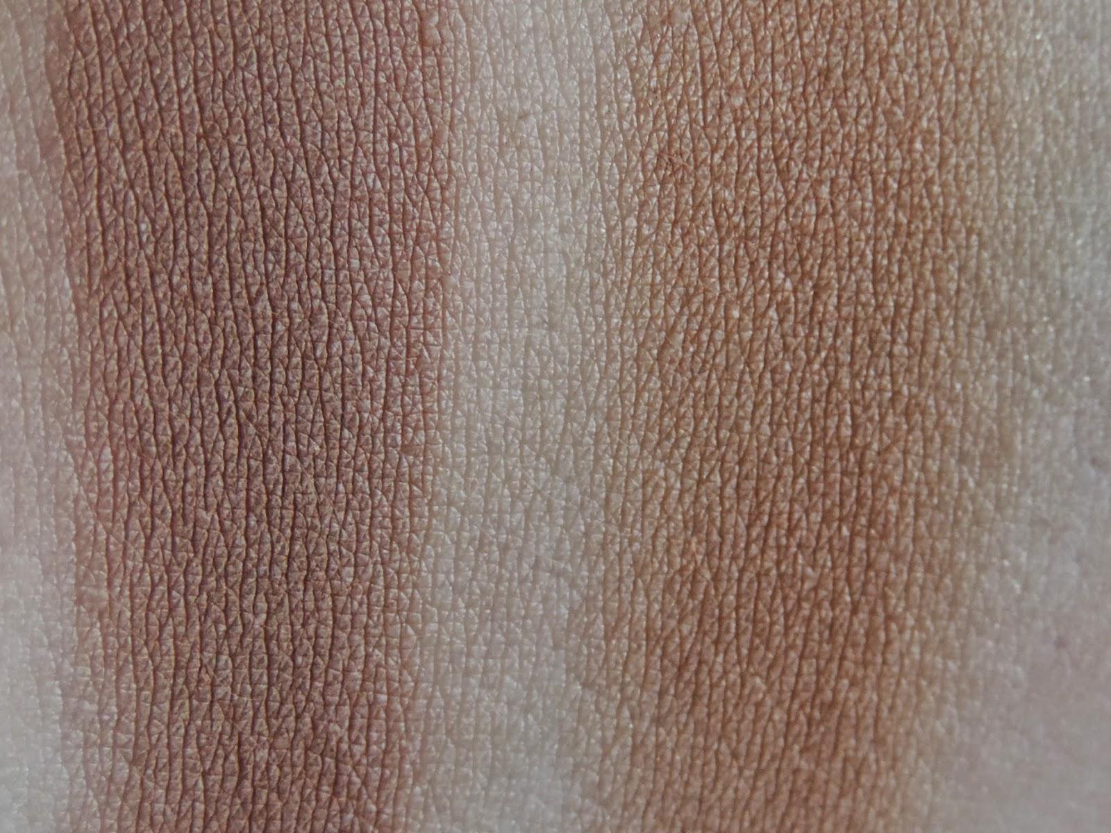Swatches: Bobbi Brown Bronzing Powder in Natural, Dior Skin Nude Bronzer in Amber