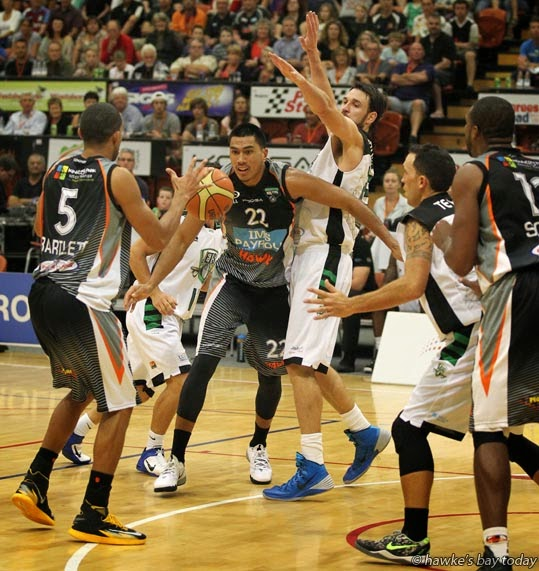 L-R: Everard Bartlett, Anamata Haku, Bay Hawks - Bay Hawks vs Manawatu Jets, basketball at Pettigrew.Green Arena, Taradale, Napier, Bay Hawks won 81-72 photograph