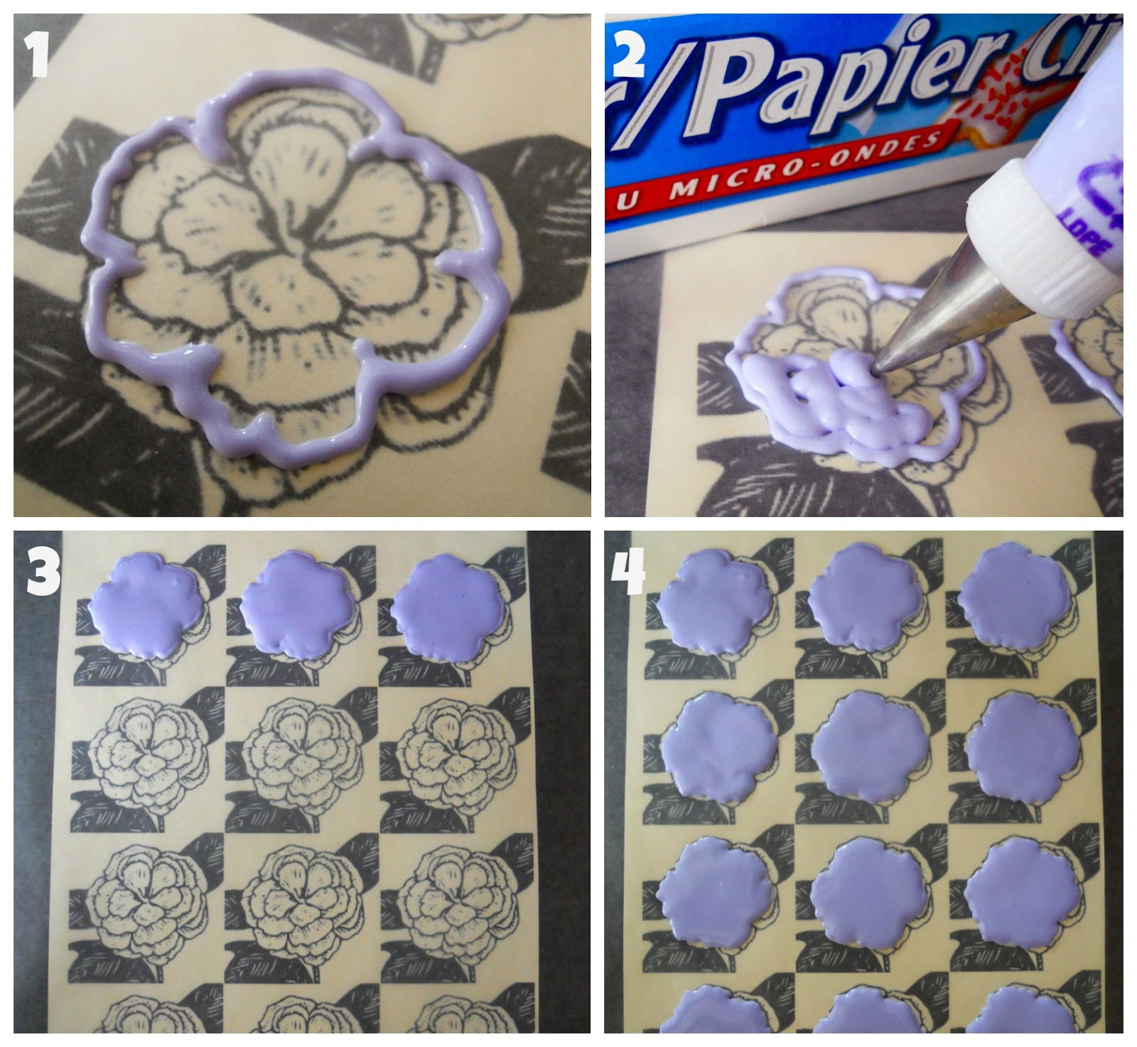 Brush embroidery royal icing accents with oh sugar events guest tip make sure both template and wax paper are as flat as possible so your transfers wont crack or be difficult to remove due to curved paper mightylinksfo