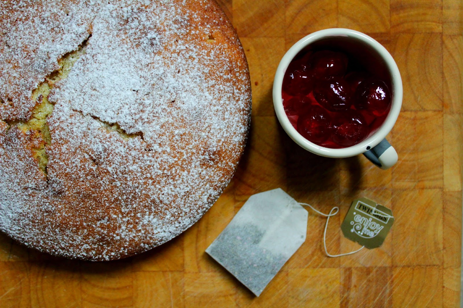 Cherry Bakewell Green Tea Cake // 76sunflowers