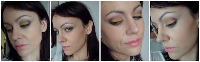 Maquillaje amarillo y morado