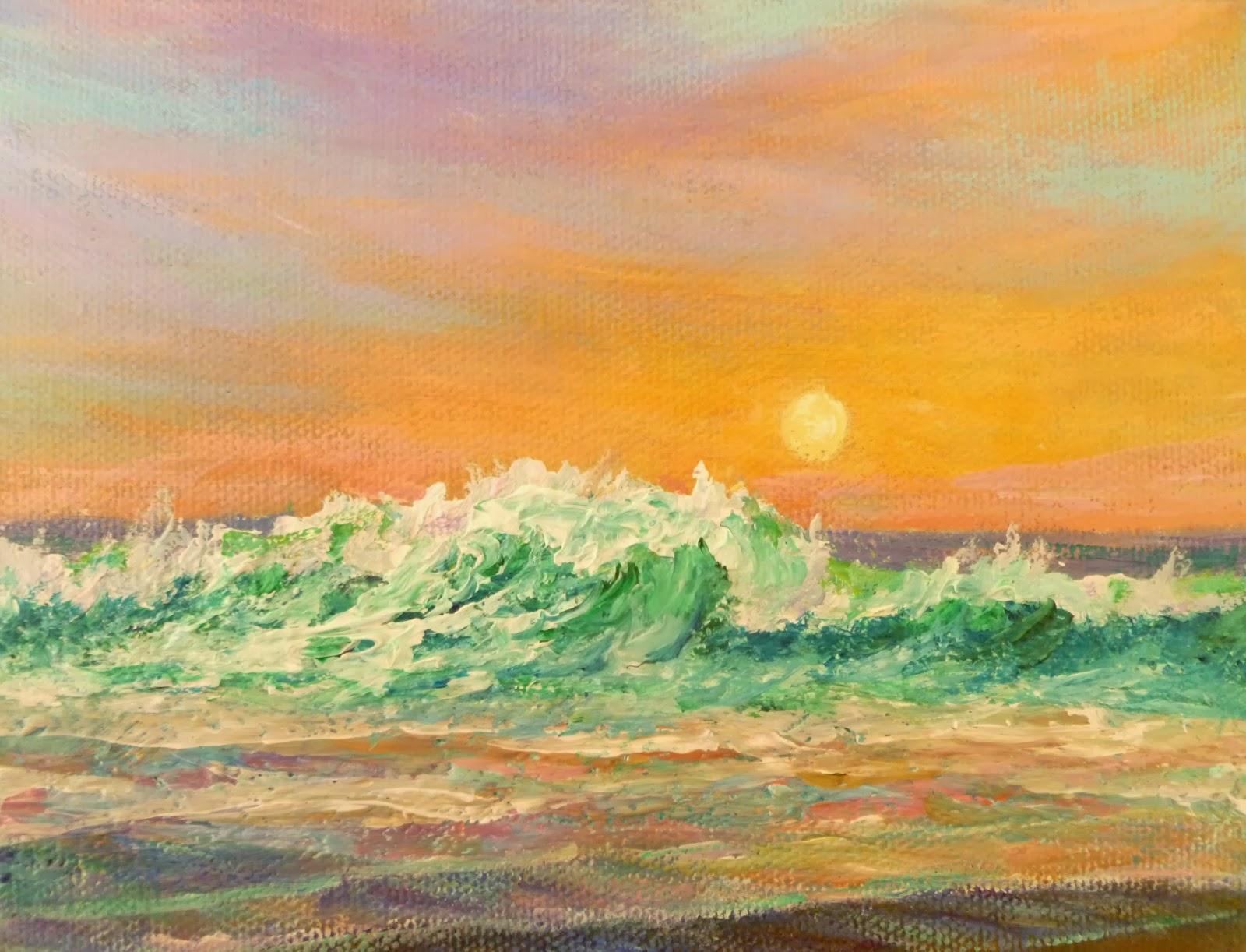 Coastal Decor Painting of an ocean sunset
