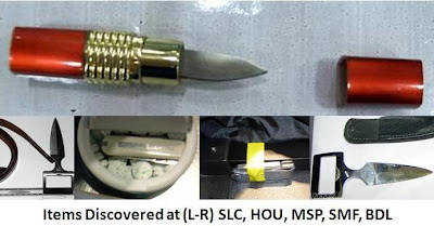 A lipstick knife was discovered at Salt Lake City (SLC).     A box cutter was found taped to the wall of a passenger's bag -- under the lining at Sacramento (SMF)     Two belt buckle knives were discovered this week at Bradley (BDL) and Houston (HOU).     A pocketknife was discovered in a gum tin at Minneapolis-St. Paul (MSP).