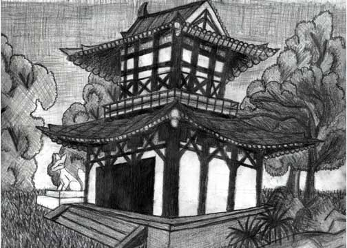japanese shrine drawing