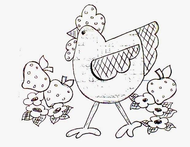 desenho de galinha estilo country americano para pintar eem tecido