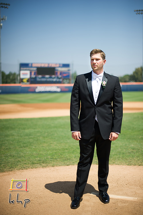Here is the groom contemplating at the rubber.