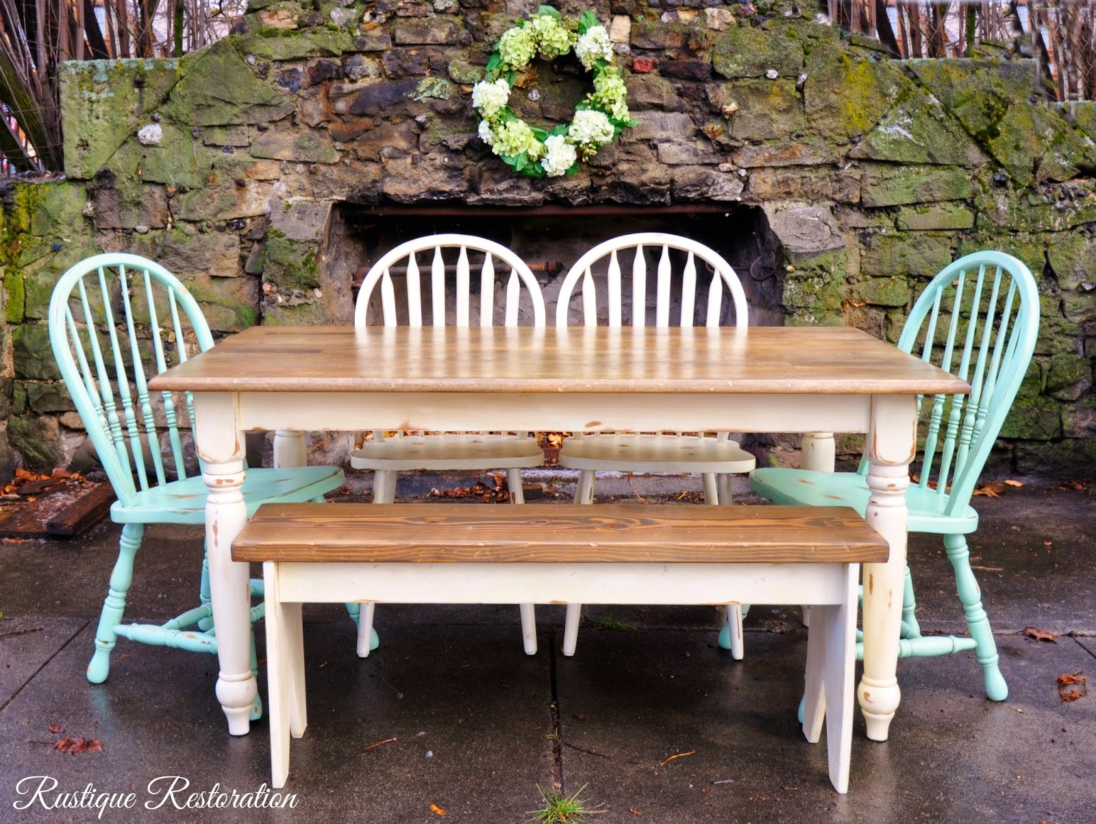 I Painted The Table And Bench And Two Chairs In A Creamy White, And Heavily  Distressed Them. Then After I Sprayed One Coat Of Lacquer Over It All, ...