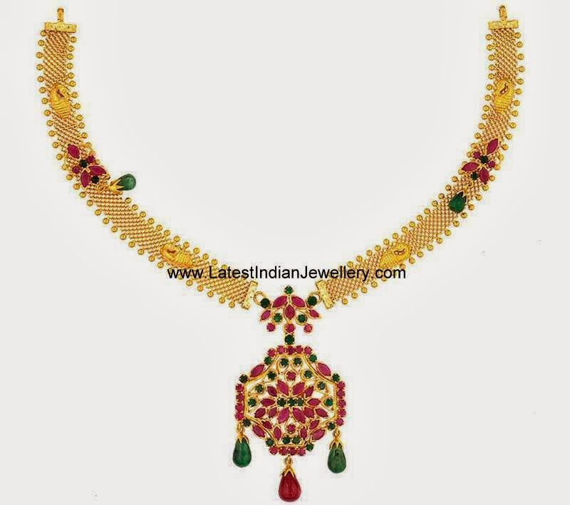Light Weight Gold Ruby Emerald Necklace