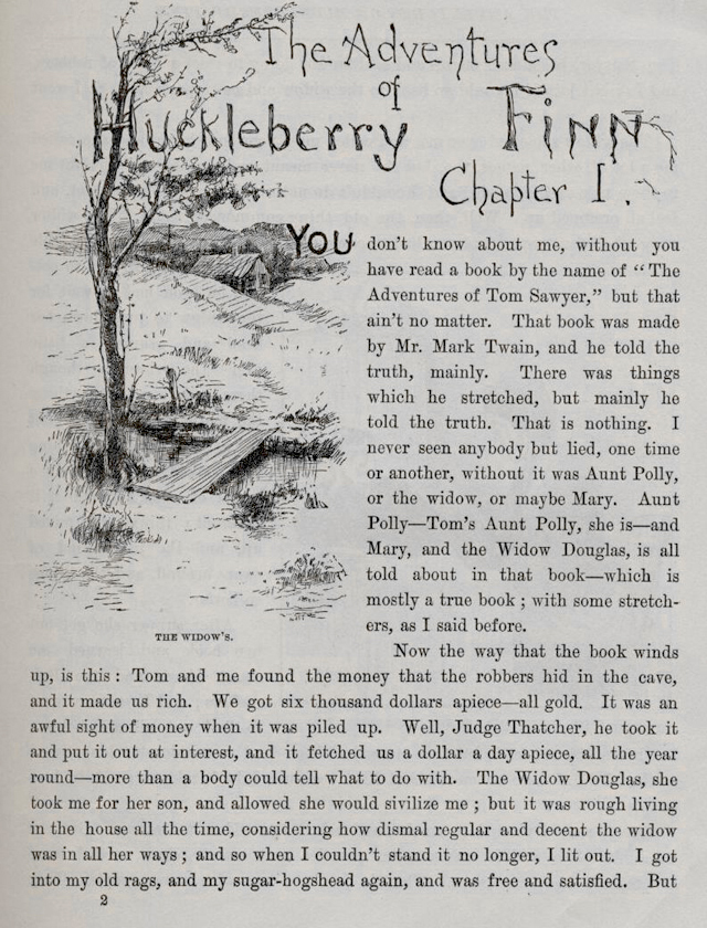 an examination of the narrative voice of huckleberry finn The adventures of huckleberry finn, by mark twain, has a variety of themes throughout the book, but one prevalent theme is coming of age for huck the book takes us on the adventures of a young boy trying to grow up amidst many difficulties, the least of which is a father who is an alcoholic, con-artist who becomes abusive when under the influence.