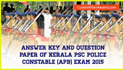 Kerala PSC Police Constable Exam 2015