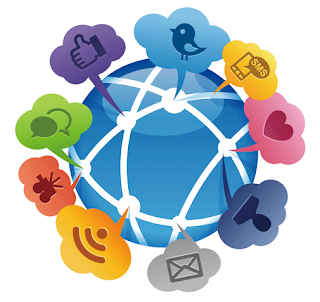 image is of social media logos like twitter connected to a figure of a globe