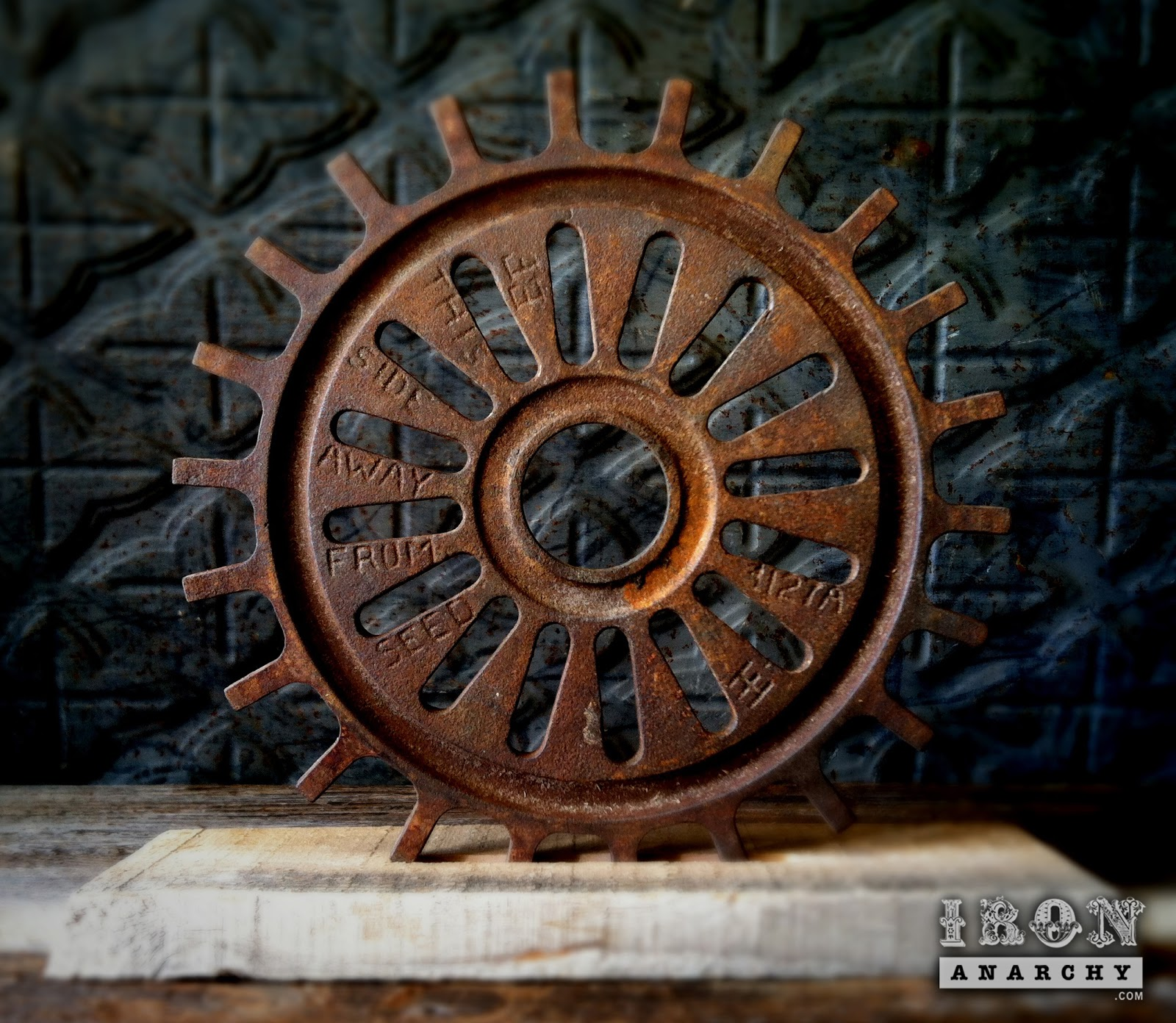 Cast Iron Wheels And Gears : Antique industrial cast iron gear sculpture