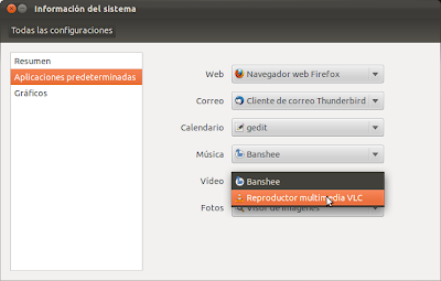 Cambiar aplicaciones predeterminadas en Ubuntu 11.10