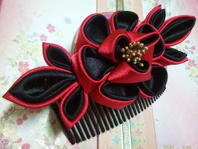 black, red, peony, hair comb, kanzashi, Malaysia, elegant