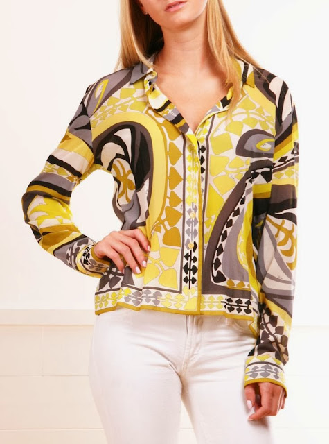Yellow Printed Long Sleeve Blouse And White Jeans