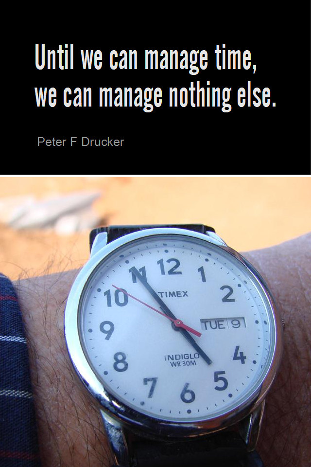 visual quote - image quotation for TIME MANAGEMENT - Until we can manage time, we can manage nothing else. - Peter F Drucker