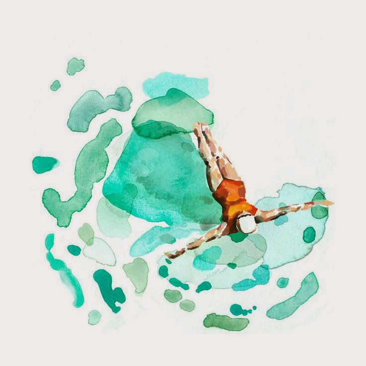 Minted Art woman swimming in watercolor