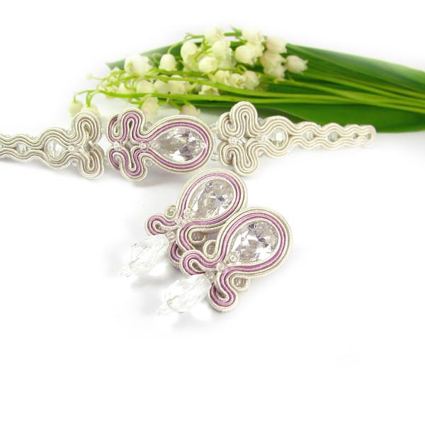 Delikatna biżuteria ślubna sutasz ivory i pudrowy róż