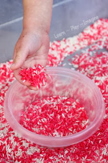 Christmas rice for sensory play that smells just like a candy cane!