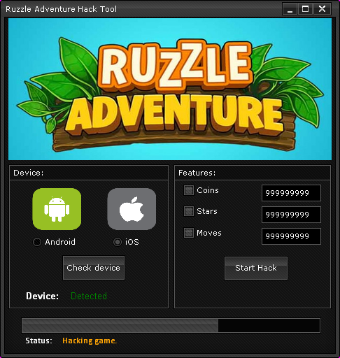 Ruzzle Adventure Hack Pack screen