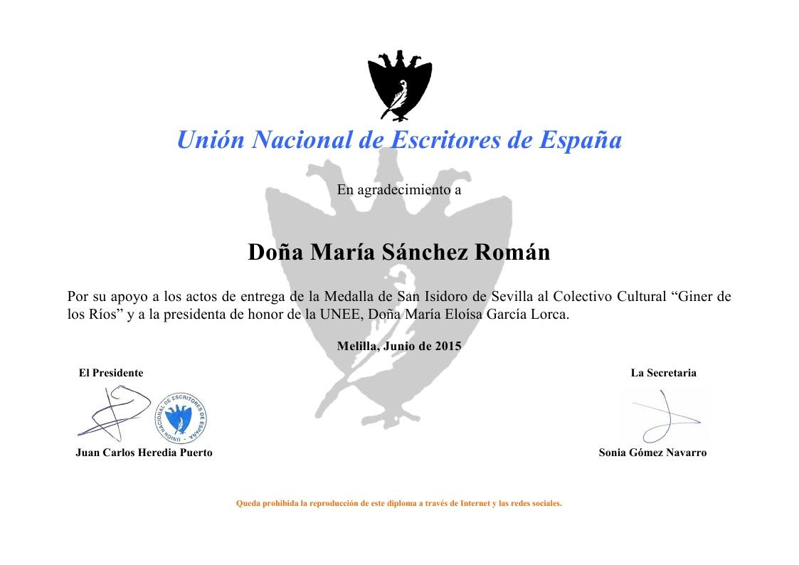 Diploma de gratitud de la UNEE