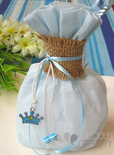 Linen pouch favors for christening
