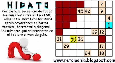 Hidato, Juegos de lógica, Problemas matemáticos, Desafíos matemáticos, Problemas de Ingenio
