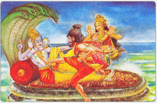 :- Bhrigu kicking Vishnu on his chest; Comic book illustration