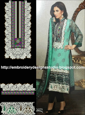 Punjabi machine embroidery for bridal salwar