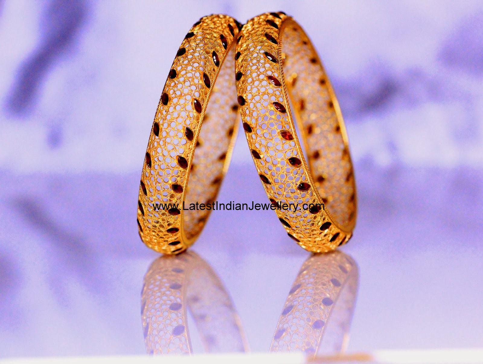 Fancy Gold and Ruby Bangles