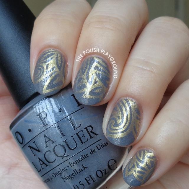 Blue Grey and Gold Stamping Nail Art