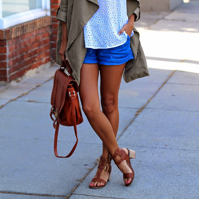 how to style chambray shorts, perfect brown sandals, justfab online style, how to shop on justfab