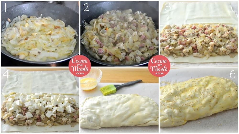 Empanada de pollo, champiñones, bacon, mozarella. Receta casera, fácil, rápida, masas, hojaldre, Cocina con Marta