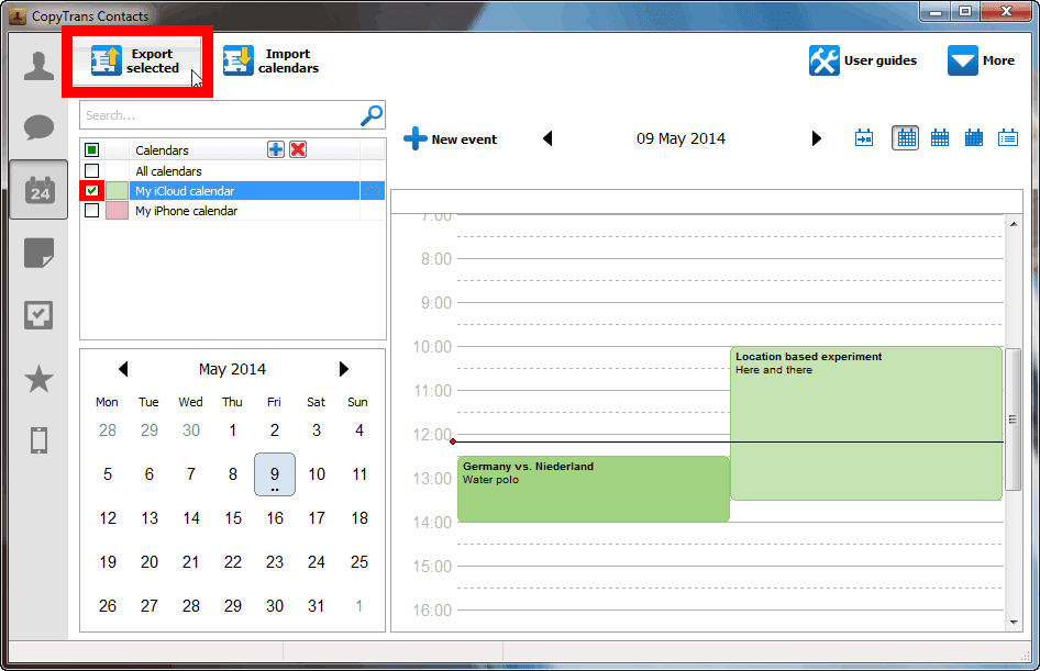 export calendar button in main program window