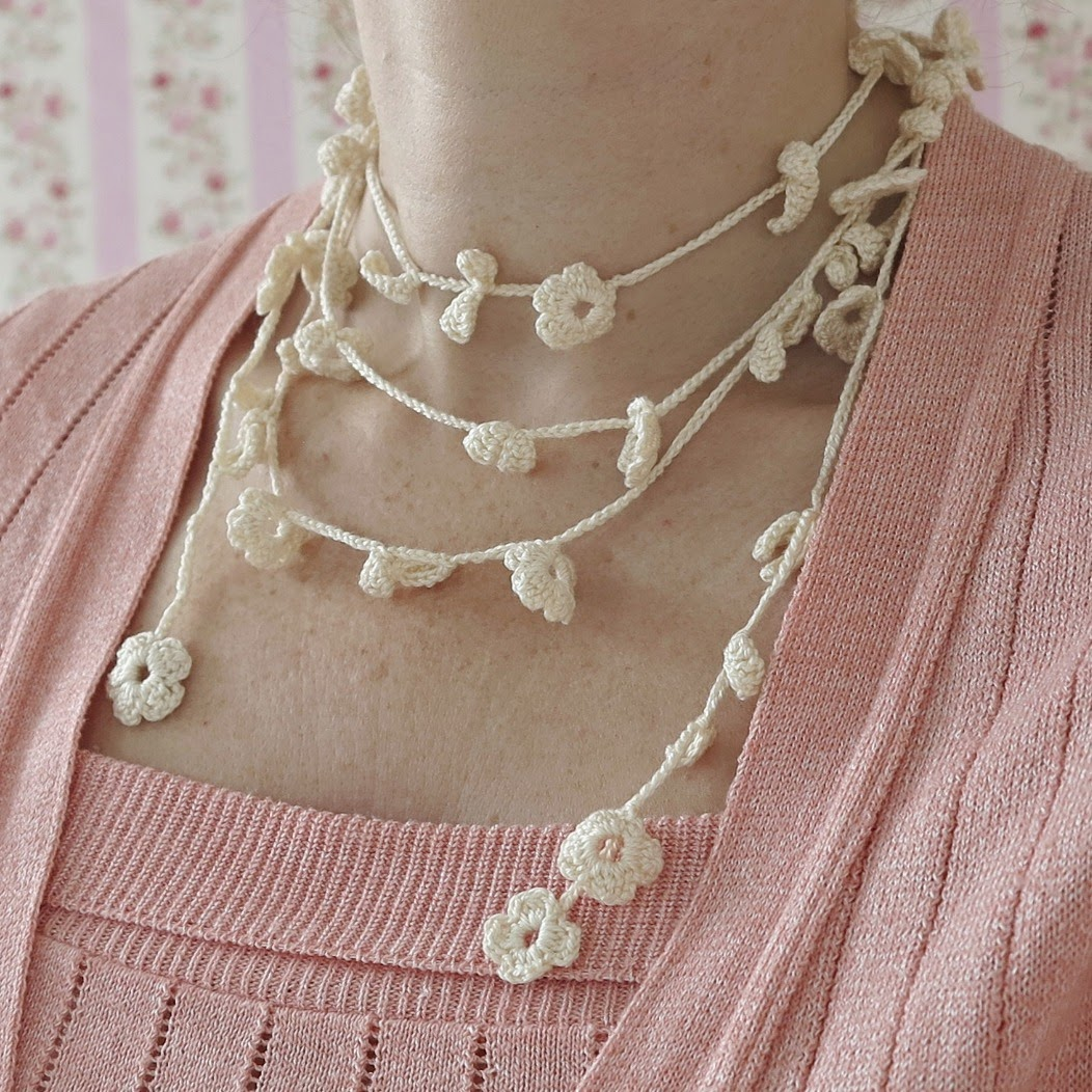 byHaafner, crochet, necklace, pastel