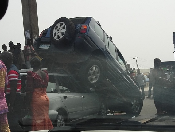 SUV climbs over another car in accident on Oshodi-Apapa road (photos)
