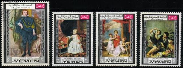 1968年イエメン共和国 サルーキなど絵画の中の犬切手