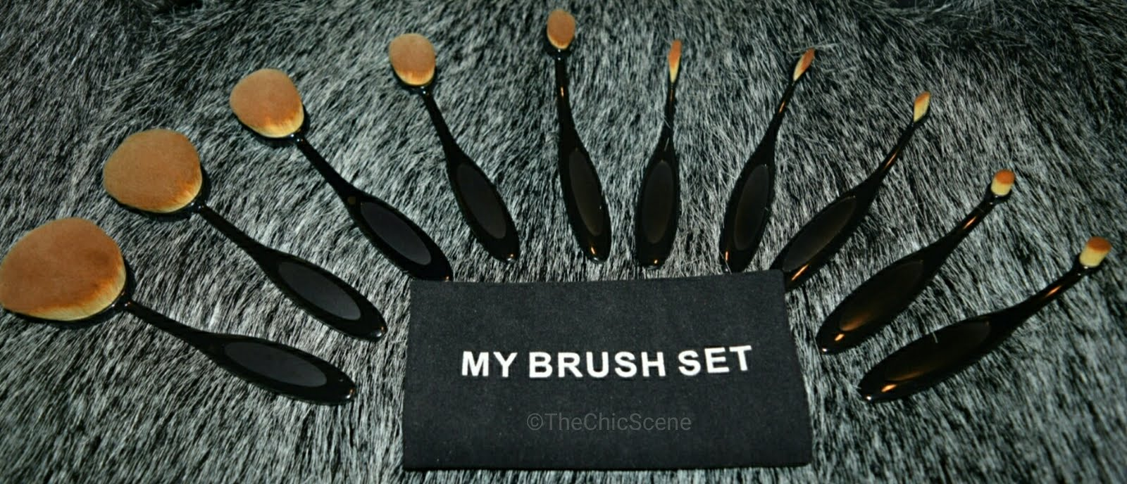 "Black 10 piece Oval Brush Set MyMakeupBrushSet.com. Use my code ""YOURDESTINYDC10"" for 10% off your purchase!"