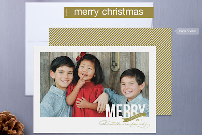 peppermint ribbon holiday christmas photo card sarah brown minted