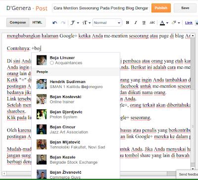 mention seseorang di blog dengan google+