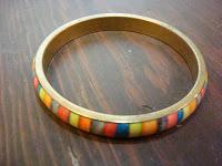 Rainbow Brass Bangle Bracelet by hotGlued