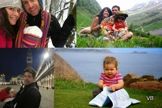 Montage de quelques photos de Céline qui illustrent leurs voyages avec bébé