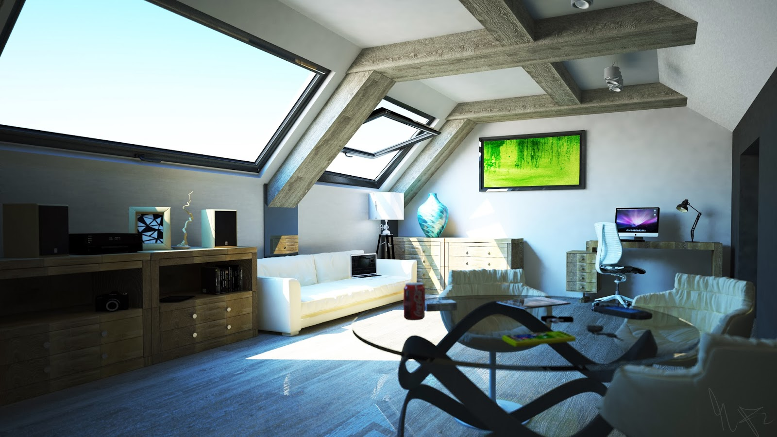 Visual blender designing a room in the attic with cinema for Home design 4d