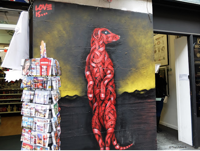 street art animaux furet mangouste lemurien rouge Londres Brick lane Esat London