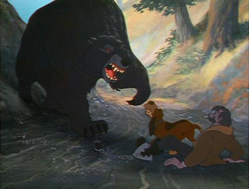 "Bear attacking Slade and Copper ""The Fox and the Hound"" 1981 disneyjuniorblog.blogspot.com"