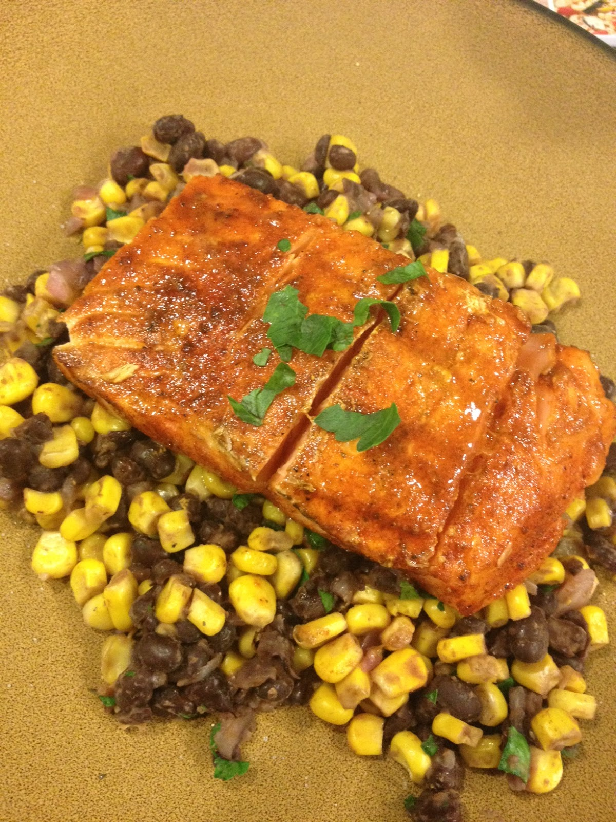 Smoky Spice Rubbed Grilled Salmon with Black Beans Corn Recipe