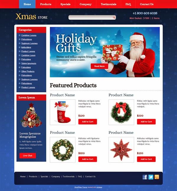 Xmas Store - Free Wordpress Theme