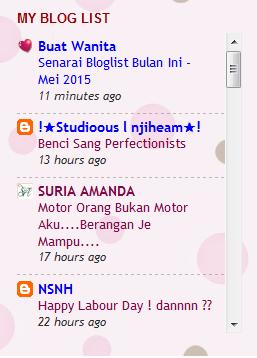 Senarai Bloglist Bulan Ini Mei 2015