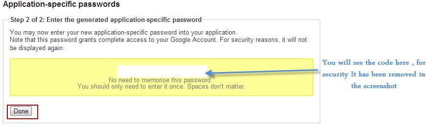 Application Specific Password For Google App