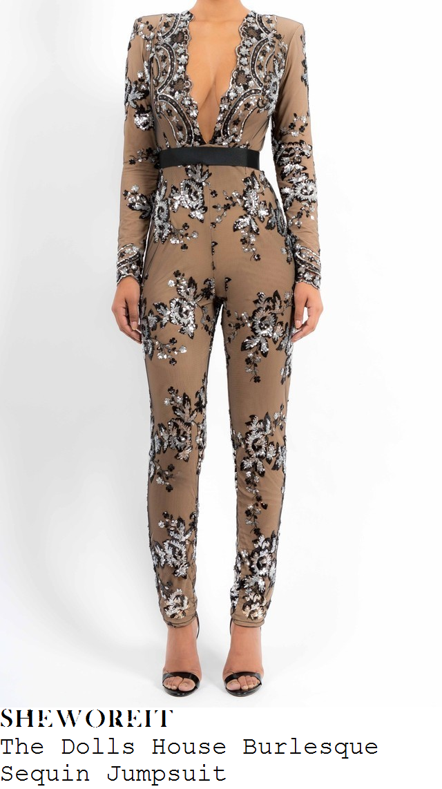 danielle-ohara-taupe-taupe-beige-grey-all-over-floral-sequin-embellished-long-sleeve-plunge-front-jumpsuit-30th-birthday-party